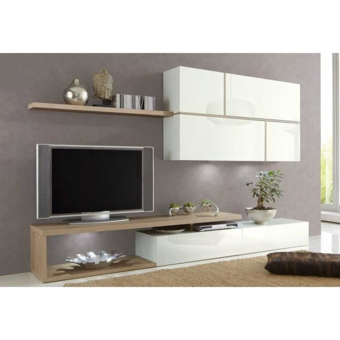 Composition murale tv design sword blanche et ch ne sonoma achat vente me - Composition meuble tv design ...