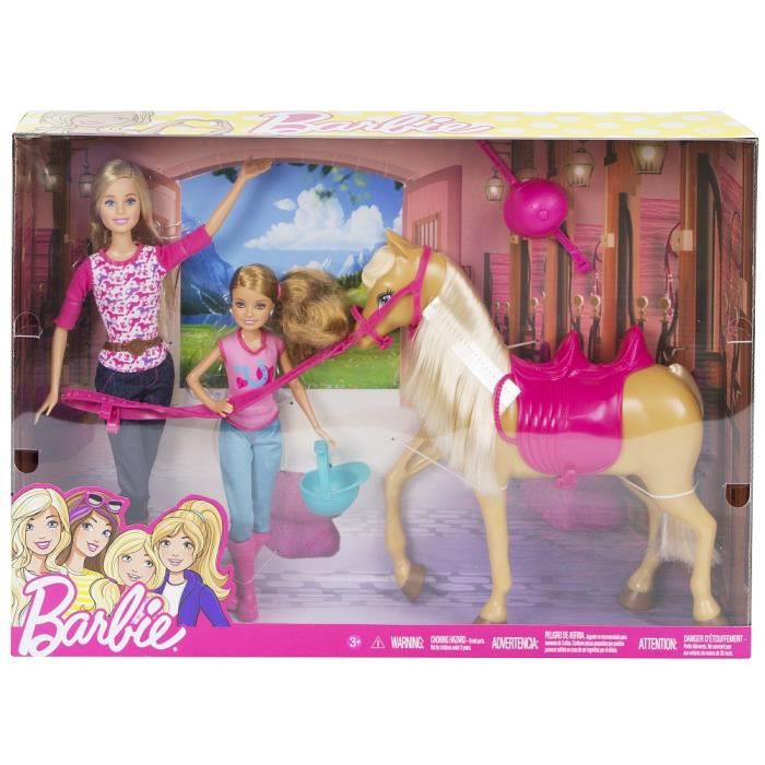 poup e barbie barbie stacie le on de cheval achat vente poup e cdiscount. Black Bedroom Furniture Sets. Home Design Ideas