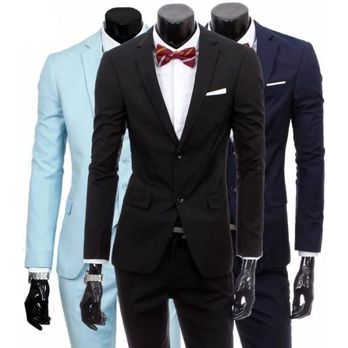 costume homme 3 pieces mariage tenue de soir e f te blazer veste homme noir achat vente. Black Bedroom Furniture Sets. Home Design Ideas