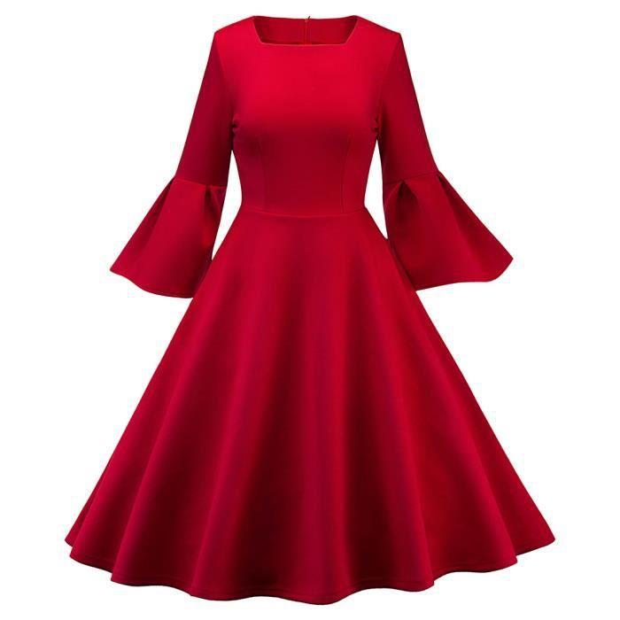 Robe Dentelle Vintage Silod Femmes Printemps Vintage Paty Robe Robe De Cocktail Rouge Rouge Achat Vente Robe Cdiscount
