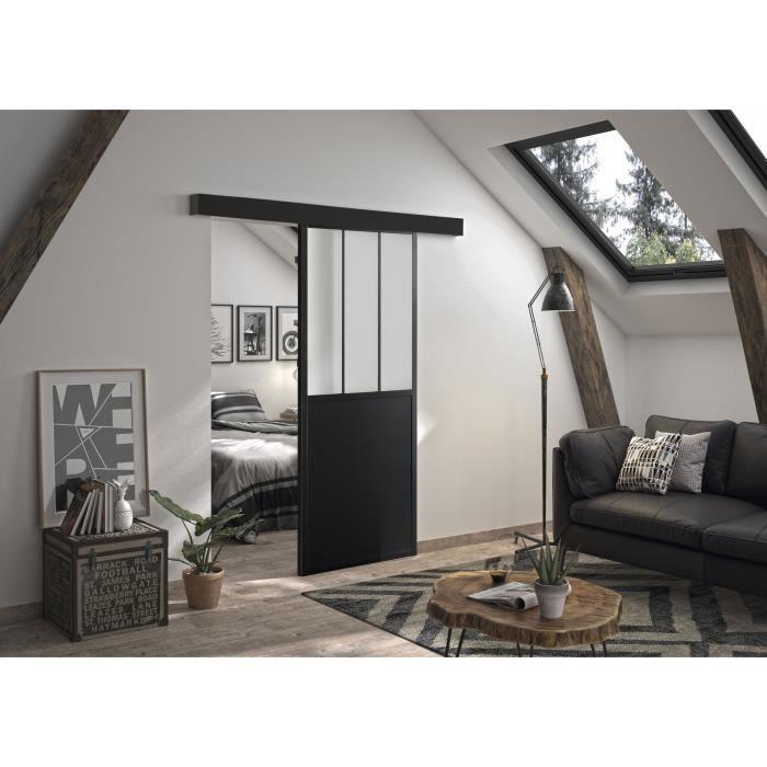 optimum kit porte coulissante rail bandeau atelier h 204 x l 93 x p 4 cm noir verre depoli
