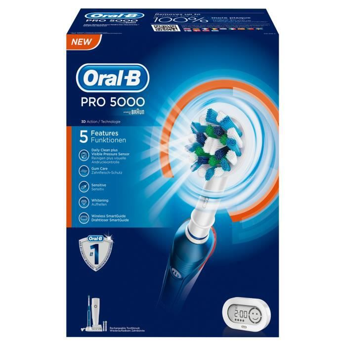 oral b pro 5000 brosse dents lectrique recharge achat. Black Bedroom Furniture Sets. Home Design Ideas