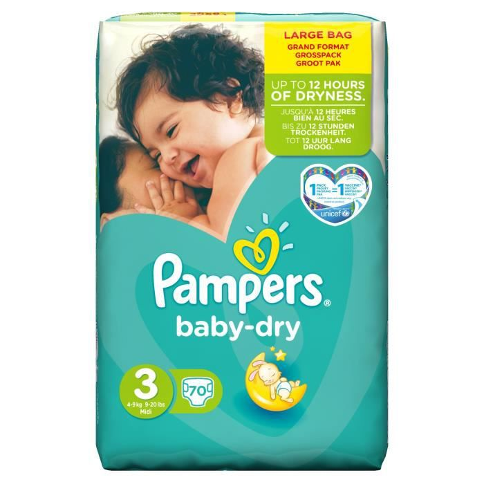 pampers baby dry taille 3 4 9 kg 70 couches vert blanc. Black Bedroom Furniture Sets. Home Design Ideas