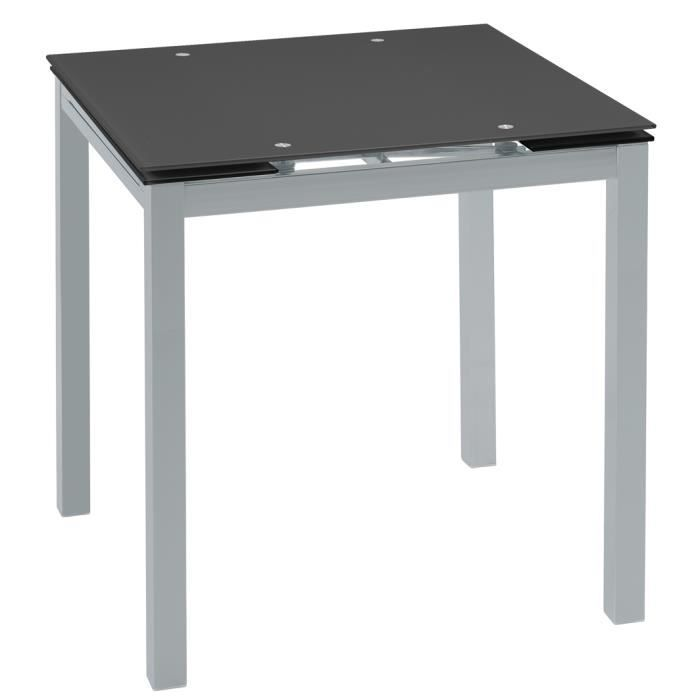 Table manger extensible en verre tremp noir 1250 1850 for Table a manger noir