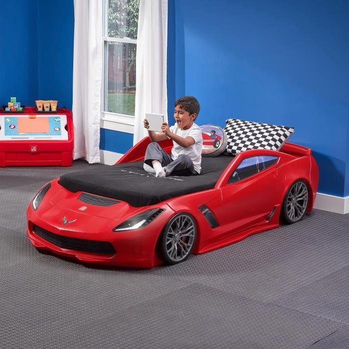 STRUCTURE DE LIT Lit évolutif Enfant Voiture Corvette Rouge Z06 Ste