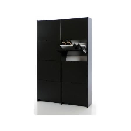 meuble chaussures noir laqu 8 abattants simon achat vente meuble chaussures meuble. Black Bedroom Furniture Sets. Home Design Ideas
