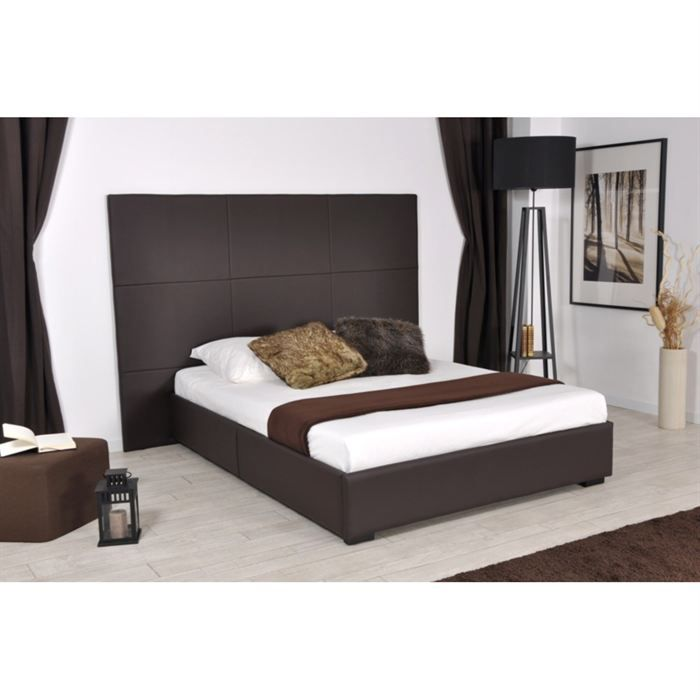 skin lit 160x200 pu choco avec grande t te de lit achat vente structure de lit skin lit. Black Bedroom Furniture Sets. Home Design Ideas