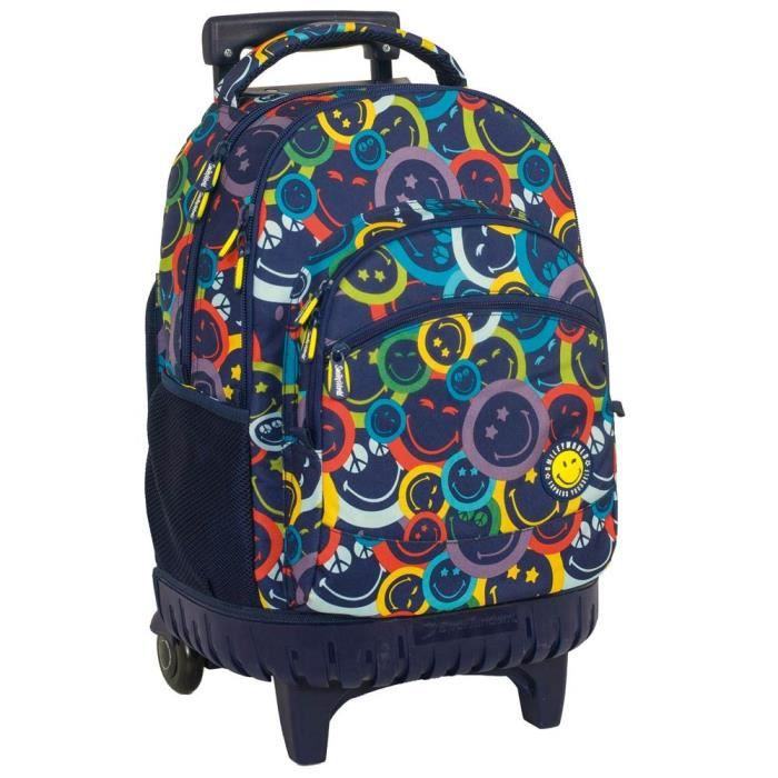 Sac à roulettes 45 CM Smiley Color Haut de gamme - 2 cpt - Cartable