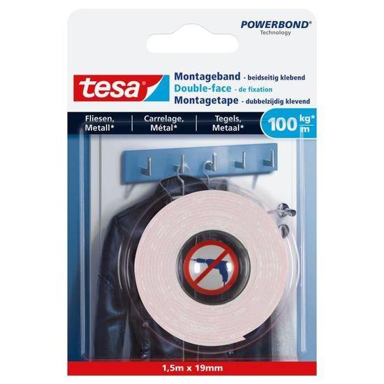 Tesa Powerbond Bande de fixation double face 5 m x 38 mm