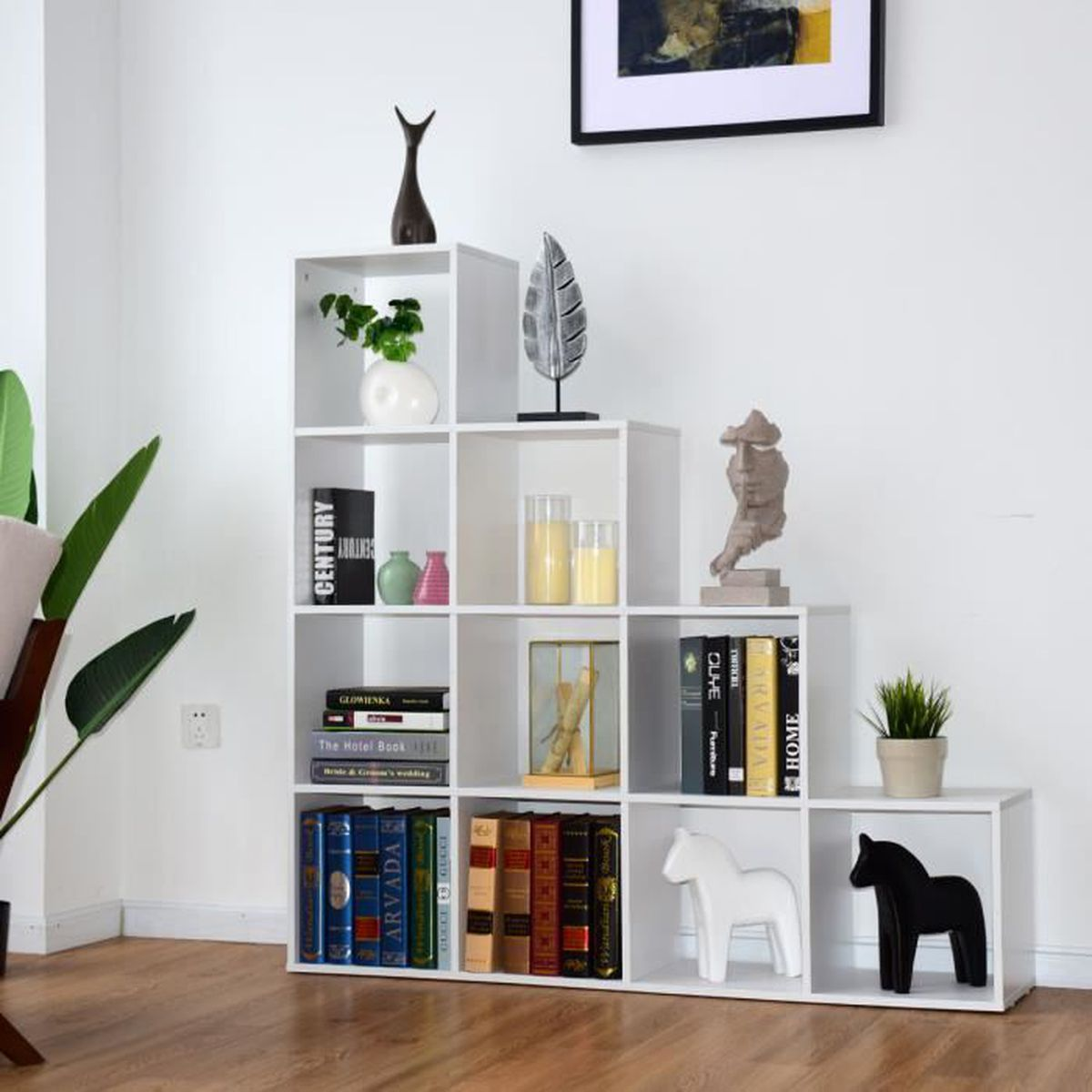 Bibliothèque Escalier en Bois de 10 Compartiments 131,5 x 131,5 x 27,5CM  Étagère d\'Escalier pour Salon Chambre Blanc