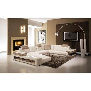 CANAPÉ - SOFA - DIVAN Canapé d'angle panoramique en cuir blanc et taupe
