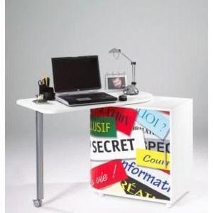 BUREAU  Bureau pivotant contemporain blanc mat et imprimé