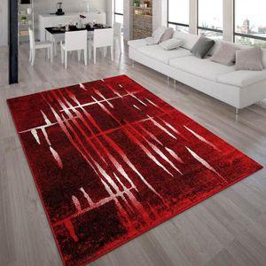TAPIS Tapis Design Moderne Poil Court Trendy Rouge Crème