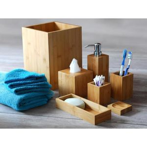 SET ACCESSOIRES MK Bamboo LONDON \u2013 Set d\u0027articles de bain en bambo