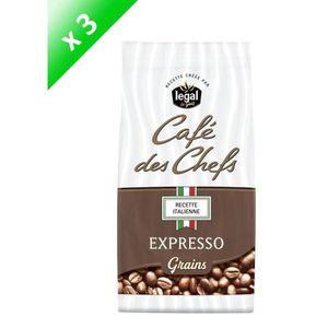 CAFÉ LEGAL Lot de 3 Cafés des Chefs Expresso Recette It