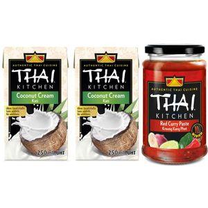 LIANT POUR SAUCE THAI KITCHEN Lot de 2 Crèmes de coco + 1 Pâte de c