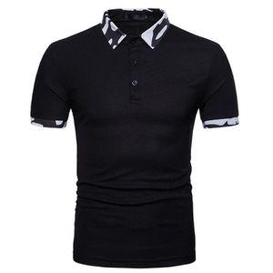 T-SHIRT Polo Homme Contraste Col Manches Courtes T-Shirt M