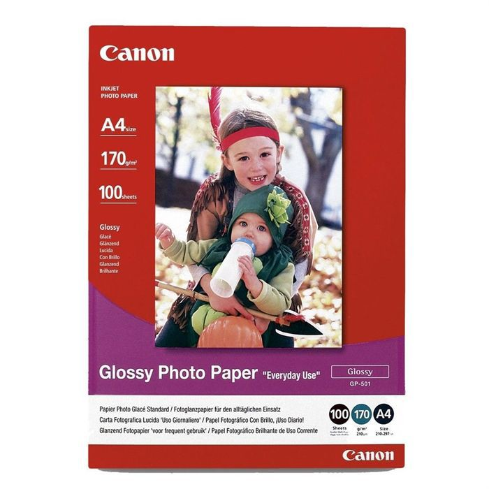 CANON Pack de 1 Papier photo inkjet brillant 210g/m2 - GP-501 - A4 - 100 feuilles