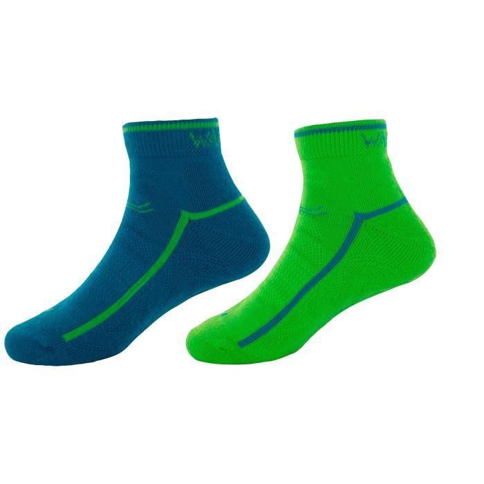 WANABEE Lot de 2 paires de Chaussettes de randonnée Hike 200 - Enfant Garçon - Bleu et vert