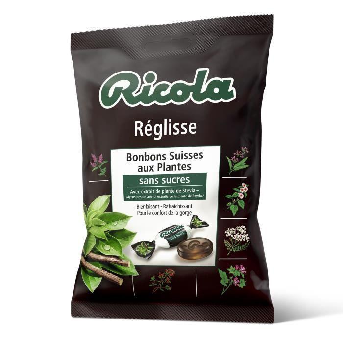 RICOLA Bonbons Suisses réglisses sans sucres aux plantes - 75 g
