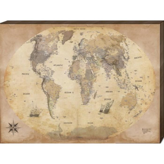 cartes poster reproduction sur toile tendue sur ch ssis carte du monde dition 2011 style. Black Bedroom Furniture Sets. Home Design Ideas