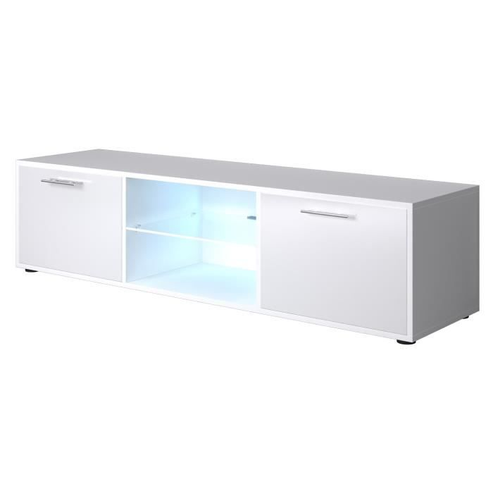 Kora meuble tv contemporain blanc brillant l 150 cm achat vente meuble - Meuble blanc brillant ...