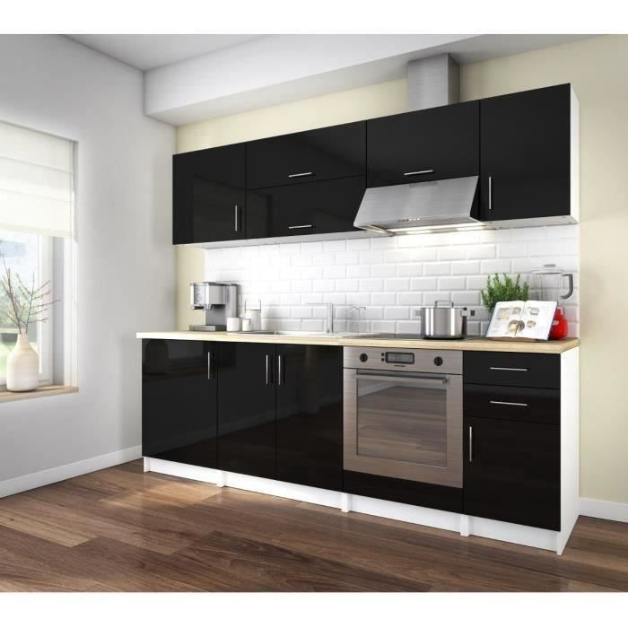 arty cuisine compl te laqu noir 240 cm achat vente cuisine compl te arty cuisine noir 240cm. Black Bedroom Furniture Sets. Home Design Ideas