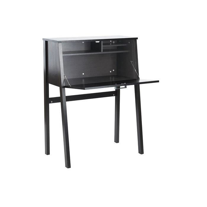 zacharias bureau secretaire contemporain noir l 114 cm achat vente bureau zacharias bureau. Black Bedroom Furniture Sets. Home Design Ideas