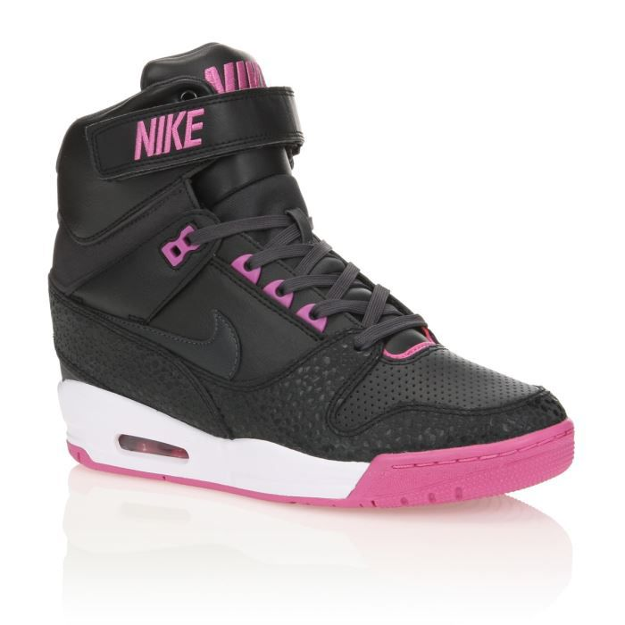 NIKE Baskets Air Revolution Sky Hi Femme Noir et Rose ...