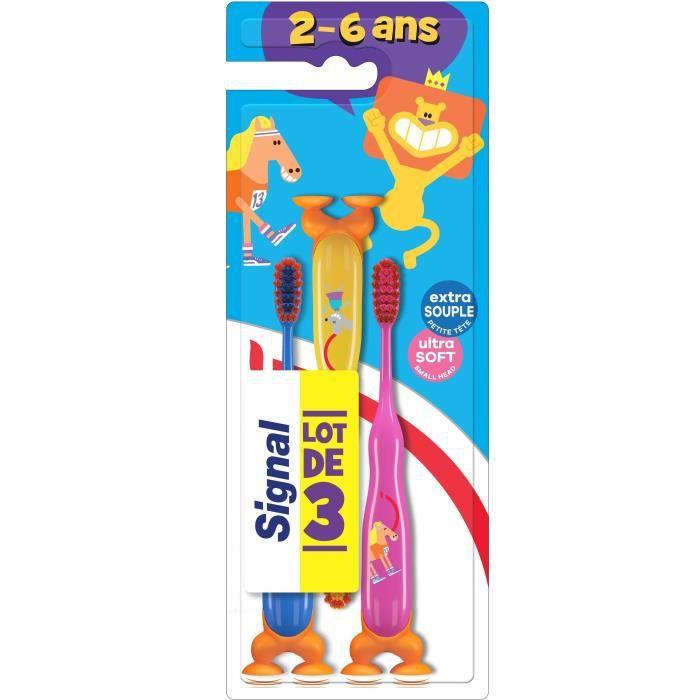 Signal Kids Brosse à Dents Enfants 2-6ans Extra Souple x3