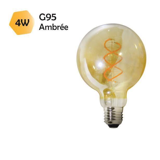 Ampoule LED filament E27 vintage G95 4W (equiv. 25W) 250Lm 2000K