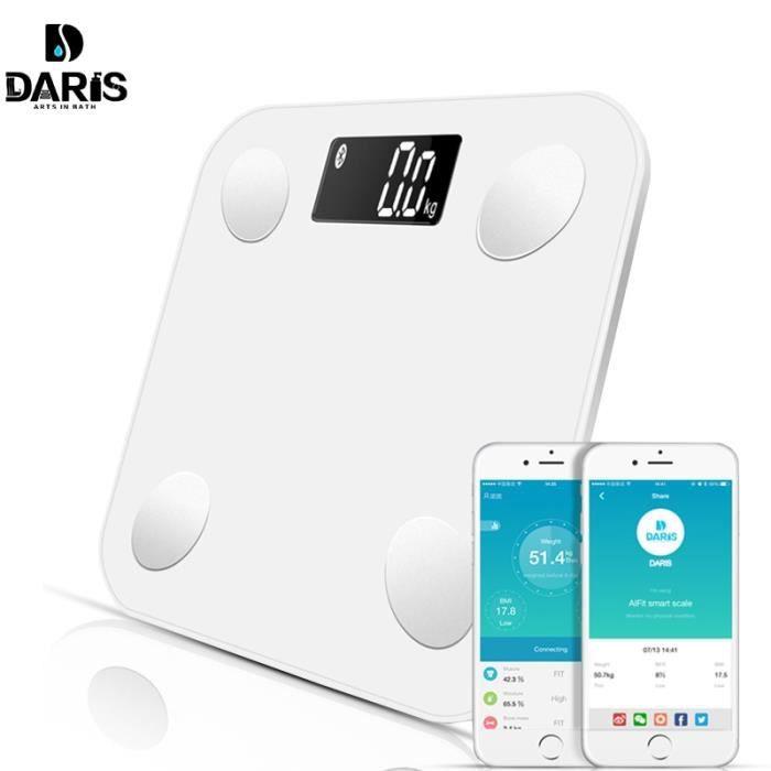 SDARISB Bluetooth balances plancher poids salle de bain Smart rétro-éclairé affichage graisse corporelle eau masse musculaire imc