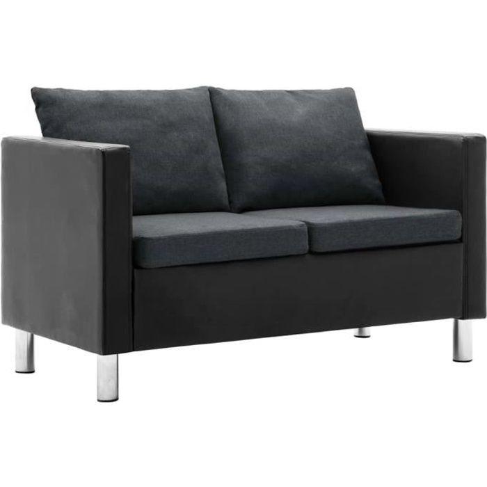 QID Canapé à 2 places Simili-cuir Noir et gris foncé