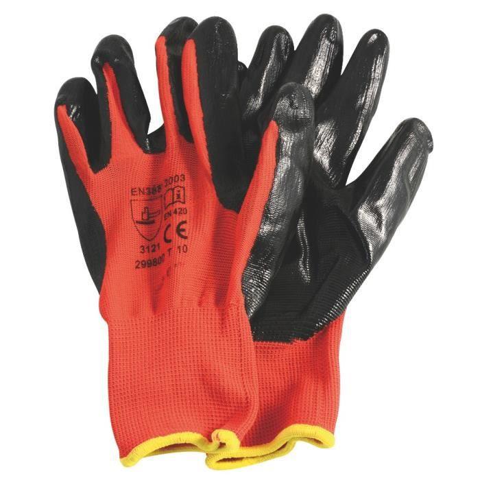 Gants dexterite étanche, taille L, rouge et noir - RONDY