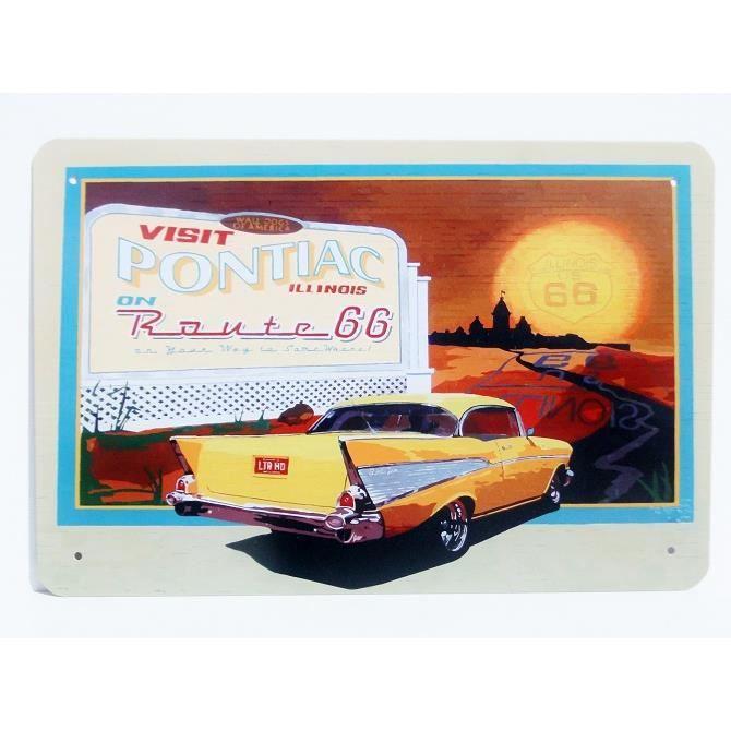 Plaque publicitaire vintage en métal PONTIAC ROUTE 66 ILLINOIS 30x20cm