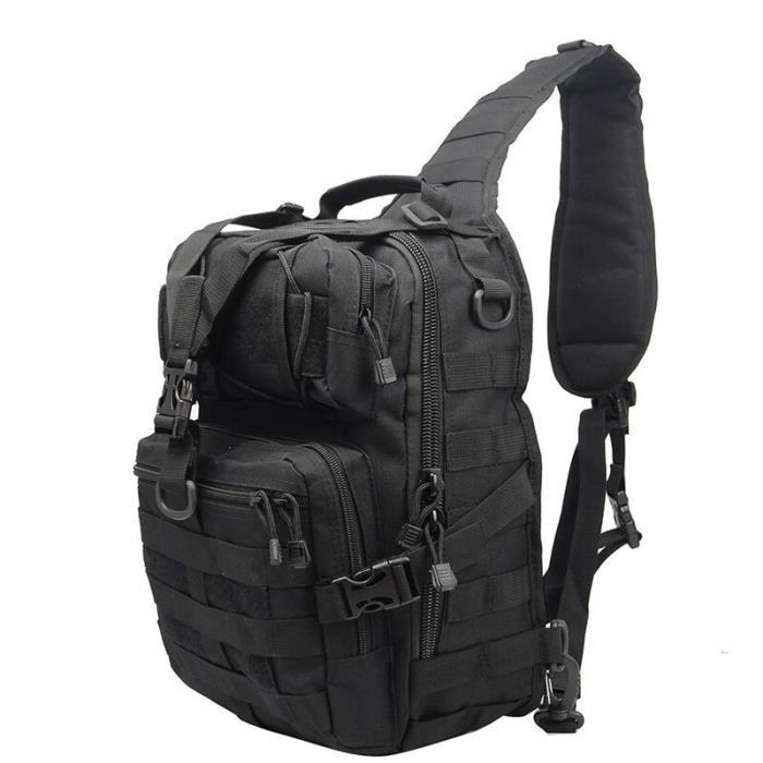 Black 20L -Sac à dos tactique militaire, petit sac à bandoulière imperméable de l'armée Molle pour randonnée en plein air, Campin