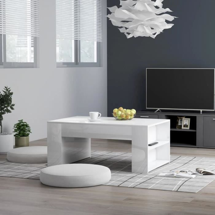��Table basse design industriel Table de Salon contemporain Cafén Blanc brillant 100x60x42 cm Aggloméré