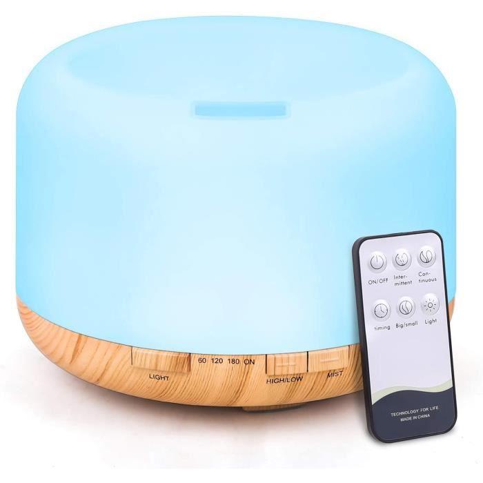 Tenswall 500ml Diffuseur d'Huiles Essentielles, Télécommande d'humidificateur Ultrasonique Sans BPA avec 7 Couleurs Lumières LED pou
