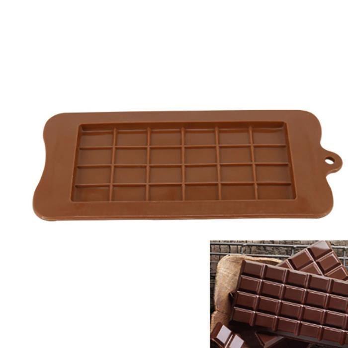 Plateau de cuisson en silicone de moule de chocolat de 24 cavités pour le bloc de glace de sucre de barre de Chocolate color