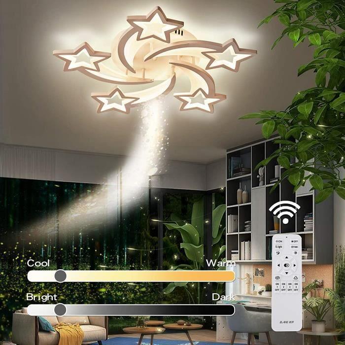 Lustres Led Salon, Jior Led Plafonnier avec Telecommande Dimmable, 72W A ++ Couleur de Lumiere / Luminosite Reglable, pour Chambre,