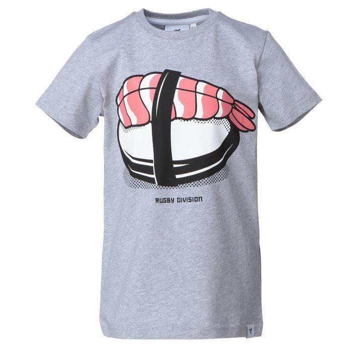 RUGBY DIVISION T-shirt col rond Sushimi - Enfant garçon - Gris Chiné