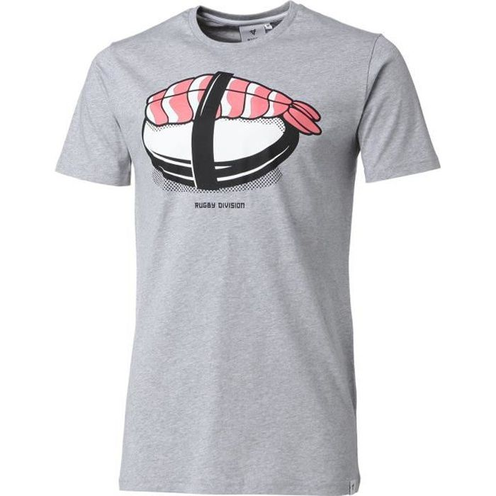 RUGBY DIVISION T-shirt col rond Sushi - Homme - Gris Chiné