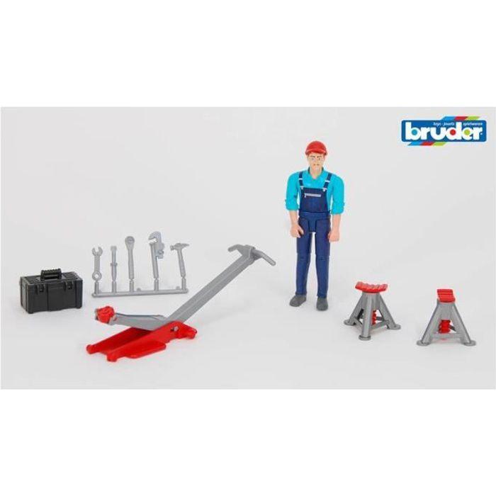 BRUDER 62100 Set mécanicien Bworld avec figurine et accessoires