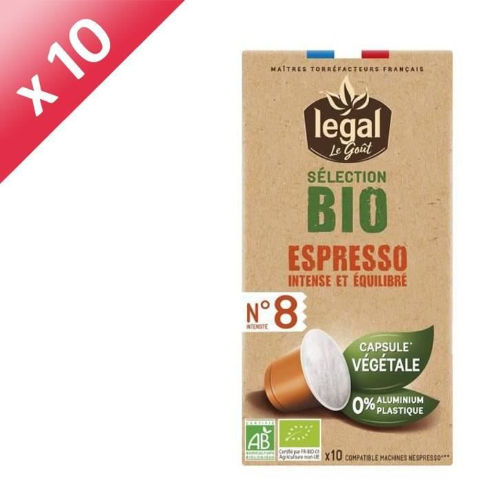 [LOT DE 10] LEGAL Cafés Selection Bio Espresso - 10 Capsules