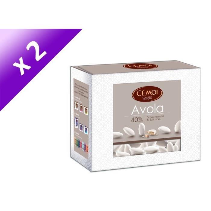 [LOT DE 2] CEMOI Boîte Dragées Avola Blanche 40 % - 375 g