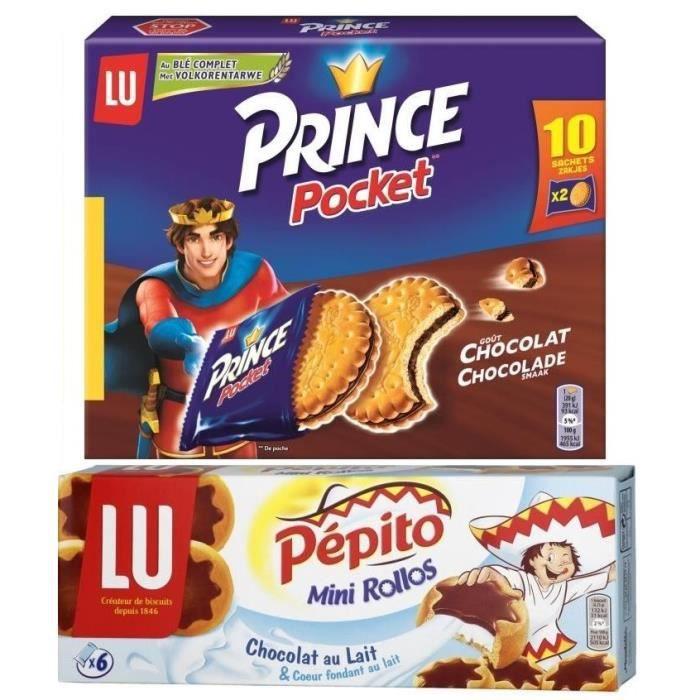 Lot de 1 PRINCE Biscuit aux chocolat Pocket 400 g + 1 Pépito Mini Rollos au lait 225 g