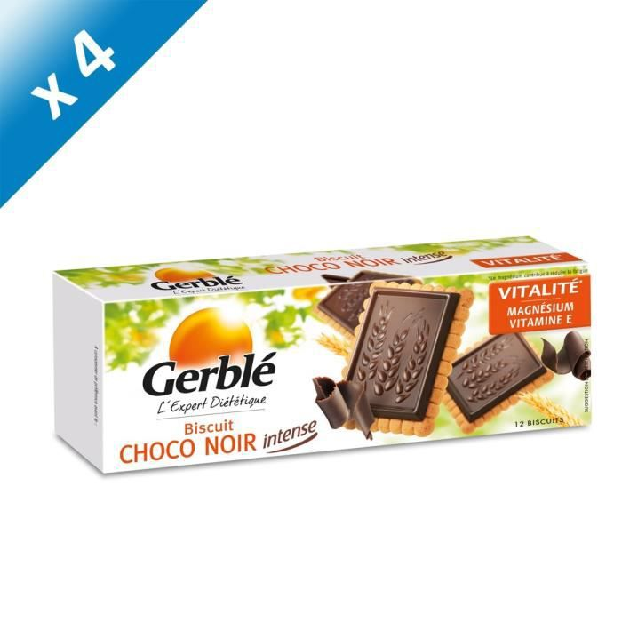 [LOT DE 4] GERBLE Biscuits avec tablette de chocolat noir - 150 g