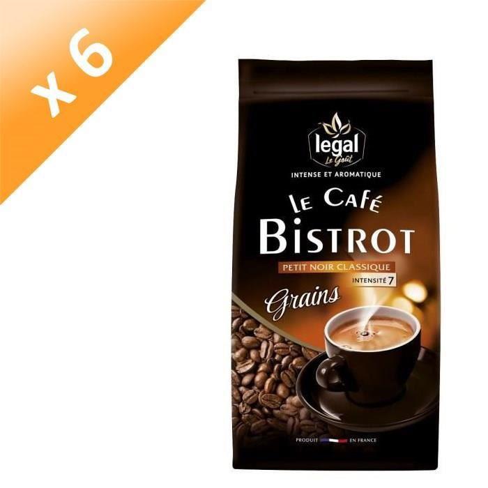 [LOT DE 6] LEGAL Cafés Bistrot Petit Noir Grains - 500 g