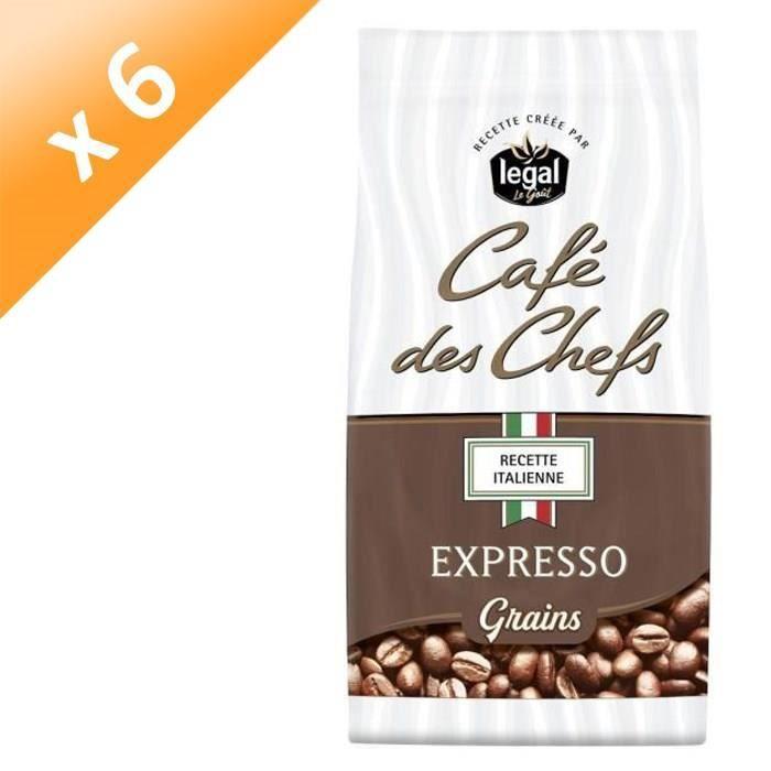 [LOT DE 6] LEGAL Cafés des Chefs Expresso Recette Italienne Grains - 500 g