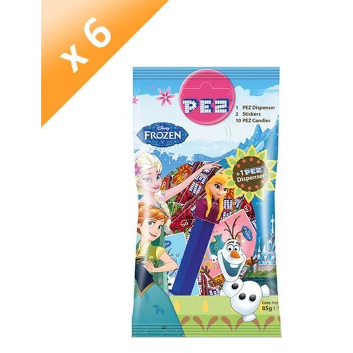 [LOT DE 6] PEZ Bonbons au goût de fruits avec 2 stickers - 85 g